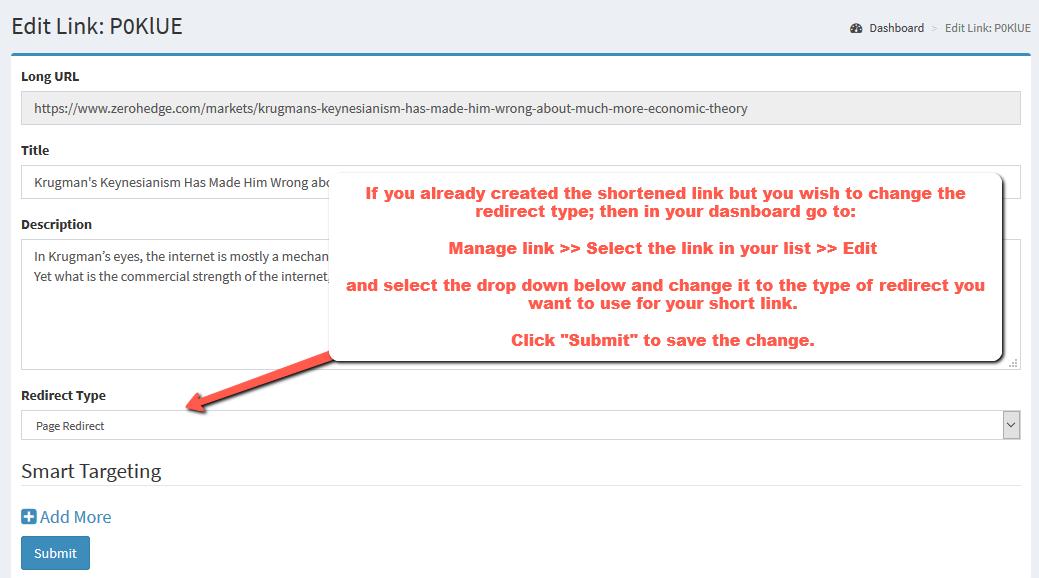 change-redirect type existing URL link | Simple URL Shortener