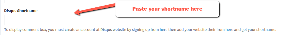disqus shortname field | Simple URL Shortener