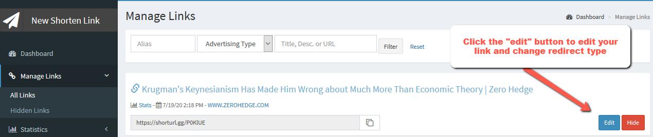 menu expanded manage links edit button | Simple URL Shortener