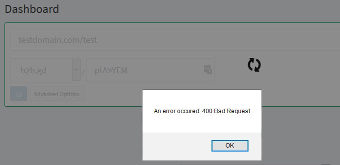 Error custom branded URL link | Simple URL Shortener