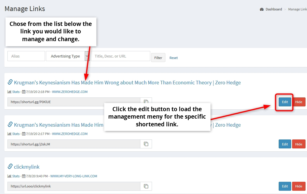 Manage links - change or edit link destination | Simple URL Shortener